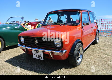 A 1978 British Leyland Mini parked up on display at the Riviera classic car show, Paignton, Devon, England. UK. - Stock Photo