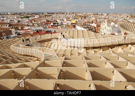 The walkway on the roof of the Metropol Parasol in Seville, Spain on April 2, 2019. Completed in 2011, the structure is known as Las Setas de Sevilla. - Stock Photo