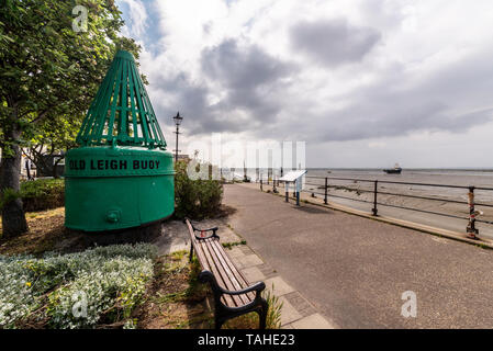 Old Leigh Buoy at Leigh on Sea, Southend, Essex, UK with bad weather approaching at low tide - Stock Photo