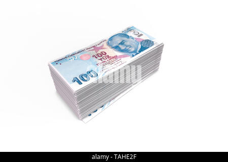 3d rendering, deck or stack of Turkish liras banknotes, perspective view, isolated on white background. - Stock Photo