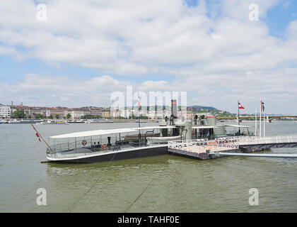 The museum ship SMS Leitha monitor warship of the Austro Hungarian Navy moored in the Danube outside the Budapest parliament building Hungary - Stock Photo