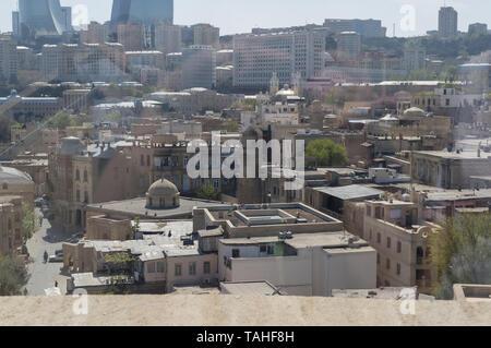 Baku, Azerbaijan, April 29, 2015: view from maiden tower on cityscape of Baku - Stock Photo