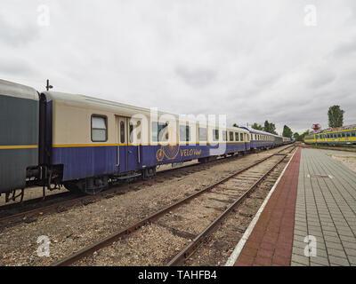 The Magyar Vasúttörténeti Park Hungarian Railway History Park sleeper train Budapest Hungary - Stock Photo