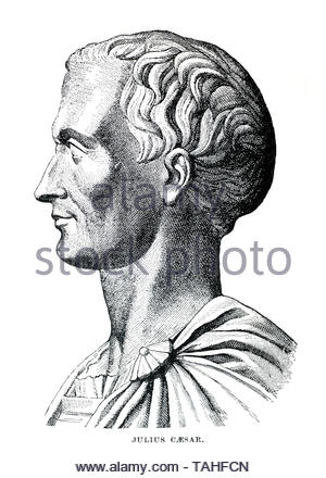 Julius Caesar portrait, 100 BC – 44 BC, was a Roman military general and politician of the Roman Empire - Stock Photo