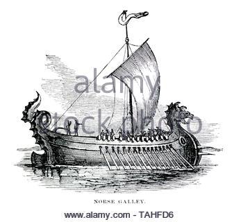 Norse Galley Viking Ship illustration - Stock Photo