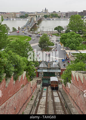 Budapest funicular conecting Adam Clark square on the banks of the Danube with the Castle hill district - Stock Photo