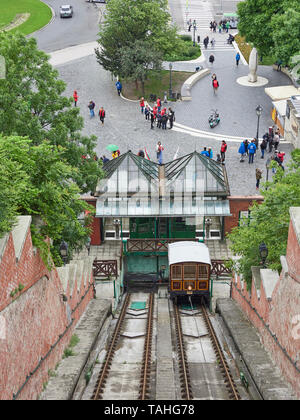 Budapest funicular conecting Adam Clarke square on the banks of the Danube with the Castle hill district - Stock Photo