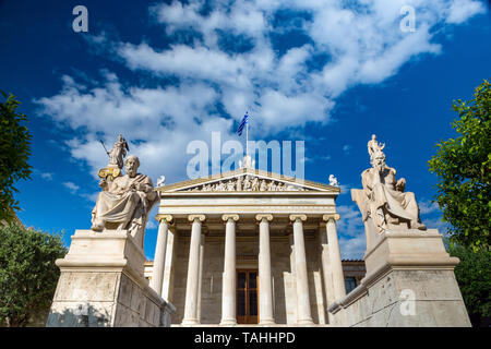 Entrance of academy of athens with the four statues - Stock Photo