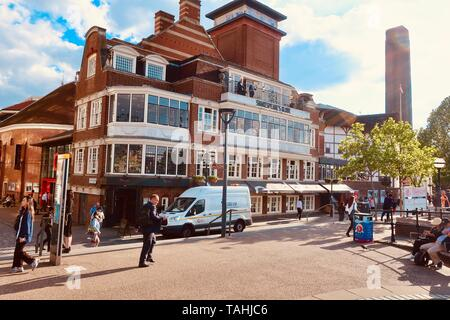 London, UK - 21 May 2019: South Bank of the River Thames. Shakespeare Globe public house. - Stock Photo