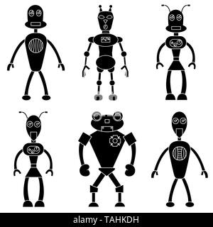 Set of robots in simple style. Isolated stock vector illustration - Stock Photo