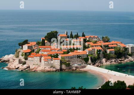Scenic view of Sveti Stefan Island, Budva Bay Montenegro - Stock Photo