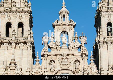 Way of St. James, Cathedral of Santiago, Praza do Obradoiro, Santiago de Compostela Spain. - Stock Photo