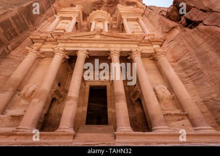 Looking up at The Treasury at Petra Ruins in Jordan - Stock Photo