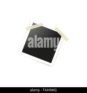 Collection of blank photo frames sticked on duct tape to white background. Template mockups for design. Vector illustration - Stock Photo