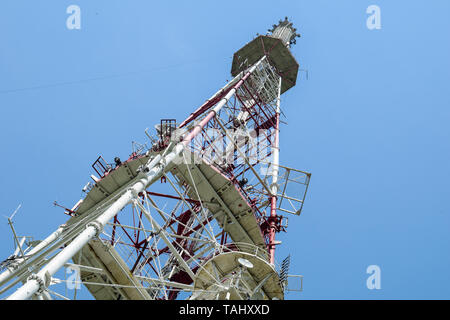 Television tower on High castle in Lviv, Ukraine. - Stock Photo