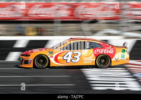 NASCAR driver Bubba Wallace driving #43 in qualifiers for the Coca Cola 600 at Charlotte Motor Speedway May 25, 2019 in Concord, N.C. Credit: Planetpix/Alamy Live News - Stock Photo