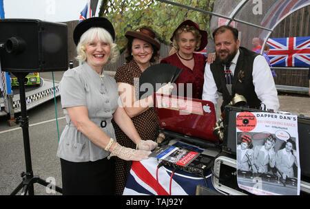 East Lancashire railway, UK, 25th May, 2019. The annual 1940's weekend takes place on the East Lancashire Railway, Ramsbottom.  Credit: Barbara Cook/Alamy Live News - Stock Photo