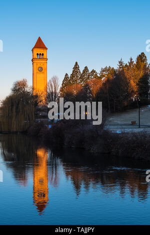 Morning Views of the Spokane River flowing in front of the Spokane Opera House and Convention Center in Riverfront Park Spokane Washington USA - Stock Photo