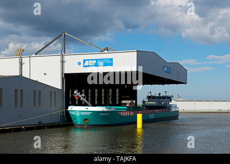 Ship being unloaded in Goole Docks, East Yorkshire, England UK - Stock Photo