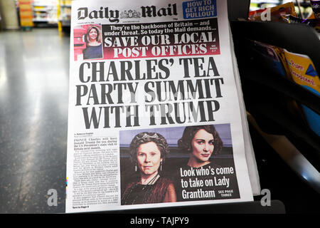 'Charles's Tea Party Summit with Trump' on front page of the Daily Mail tabloid newspaper 20 May 2019 - Stock Photo