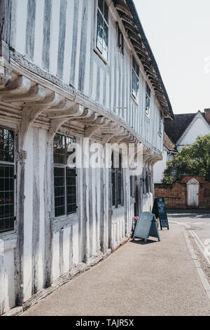 Lavenham, UK - April 19, 2019: Exterior of the Number Ten Wine Bar and Kitchen in Lavenham, a village in Suffolk, England, famous for its Guildhall an - Stock Photo