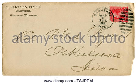 Cheyenne, Wyoming, The USA, 6 January 1896: US historical envelope: cover with advertising cachet Greentree clothier, postage stamp George Washington - Stock Photo