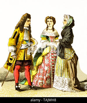 The figures represented here are French people around 1600. They are, from left to right: Louis XIV in 1680, lady of rank, lady of rank in simple clothes. The illustration dates to 1882. - Stock Photo