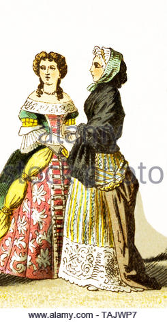 The figures represented here are French ladies of rank around 1600. The illustration dates to 1882. - Stock Photo