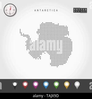 Vector Dots Map of Antarctica. Simple Silhouette of Antarctica. Realistic Vector Compass. Multicolored Map Pins - Stock Photo
