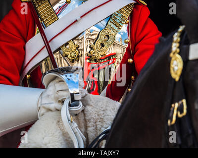 Horse Guards London - Close up detail of a Mounted Trooper of the Household Cavalry Life Guards on guard on Whitehall, Central London - Stock Photo