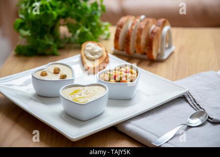 Houmous and toast - Stock Photo