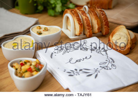 toast and houmous - Stock Photo