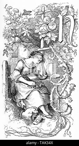 Capital letter N as chapter frontispiece decorated with a sad girl crying and a flourish of spiny leaves and flowers