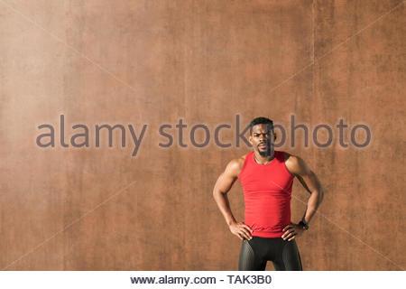 Black fit motivated urban athlete. - Stock Photo