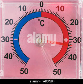 Outdoor Window Wall Thermometer on pink background - Stock Photo