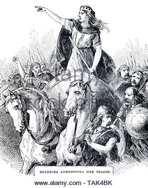 Boudicca was Queen of the British Celtic Iceni tribe who led an uprising against the occupying forces of the Roman Empire in AD60 or AD61 - Stock Photo