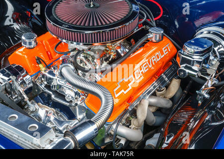 Engine on an American sports car - Stock Photo