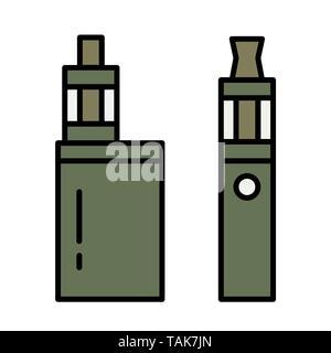Vape pen. Vaping box. E-cigarette for vaping. Isolated vector illustration on white background. - Stock Photo