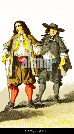The figures represented here are a French citizen and a French abbe around 1600. The illustration dates to 1882. - Stock Photo