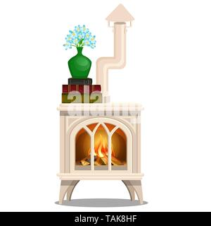 Elegant white stove with books and vase with blue flowers isolated on white background. Vector cartoon close-up illustration. - Stock Photo