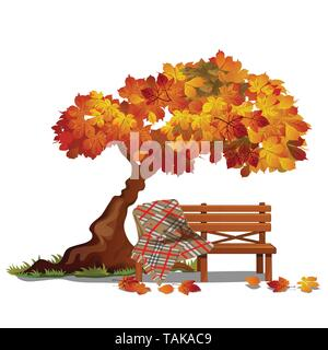 Cozy bench under the autumn tree. Outdoor furniture isolated on white background. Sketch on the theme of the Golden autumn. Vector cartoon close-up - Stock Photo