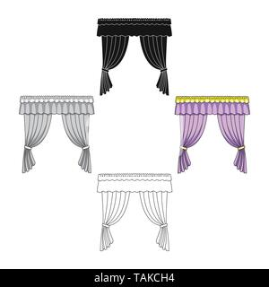 Curtains with drapery on the cornice.Curtains single icon in cartoon,black style vector symbol stock illustration . - Stock Photo