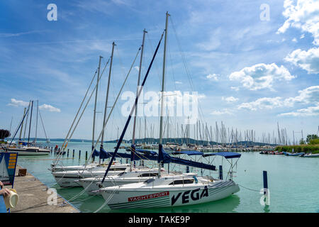 Balatonf red, Hungary - 25.05.2018 sail boats waiting on the lake Balaton - Stock Photo