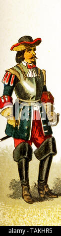 The figure represented here is a French cuirassier around 1600. The illustration dates to 1882. - Stock Photo