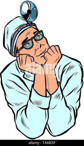 doctor otolaryngologist, medicine and health. medical professional. isolate on white background. Pop art retro vector illustration vintage kitsch - Stock Photo