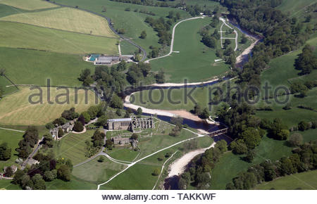 aerial view of Bolton Abbey (Bolton Priory) near Skipton, North Yorkshire - Stock Photo