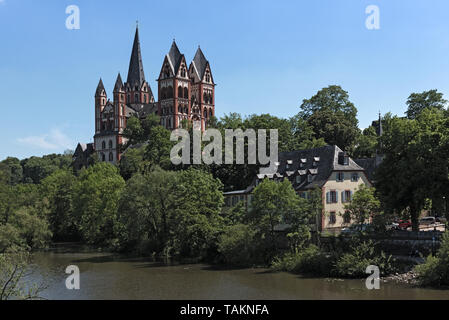 View over the Lahn River to the Limburg Cathedral Limburg Hesse Germany - Stock Photo
