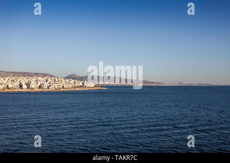 Panorama of the city of Athens seen from the sea, Greece - Stock Photo