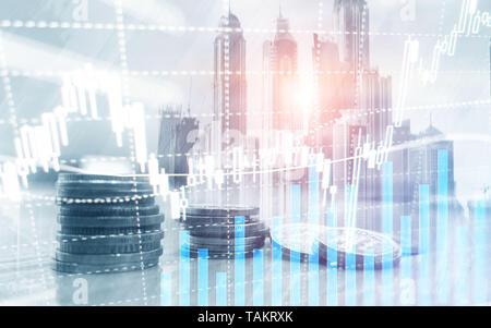 Digital stock market. Financial business stock market graph chart candle stick. Forex trading. Coins and megapolis background. - Stock Photo
