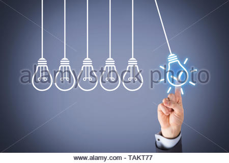 Idea Solution Concepts with Light Bulb on Visual Screen - Stock Photo
